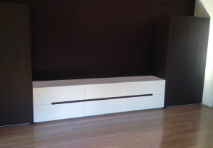 Custom Made Entertainment Unit with Routed Handles