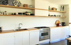Wood tops & White Cabinet Kitchen Combination