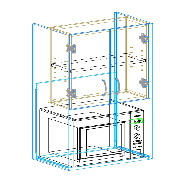 Wall Microwave AutoCad Drawing
