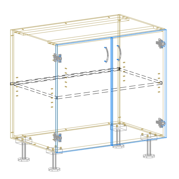 2 Door Base Cabinet Drawing AutoCad