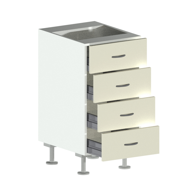 4 Drawer Base Cabinet Open