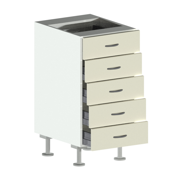 5 Drawer Base Cabinet Open