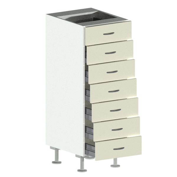 7 Drawer Base Cabinet Open