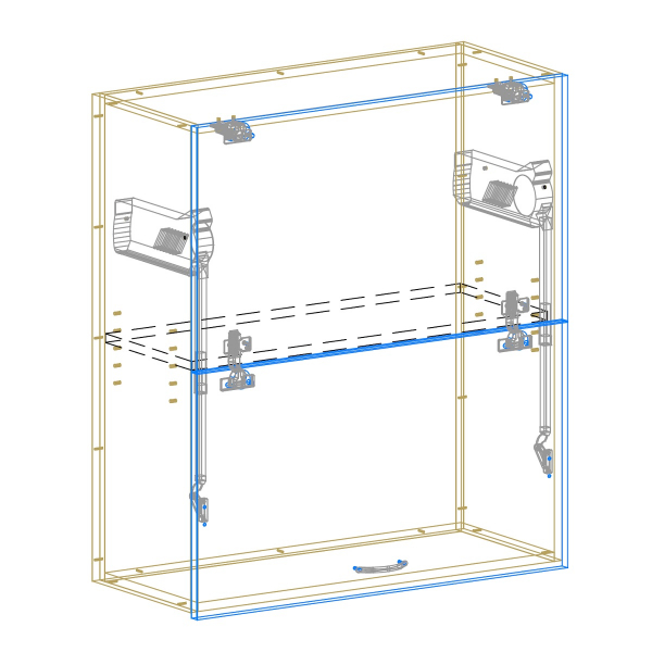 Lift Up Double Door Cabinet AutoCad Drawing