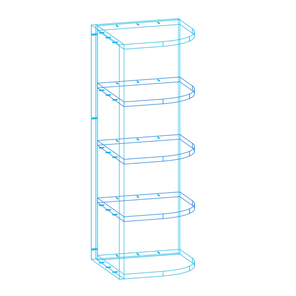 Open Right End Cabinet AutoCad Drawing